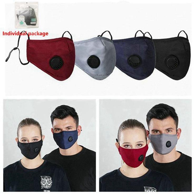 Lavable Cyclisme anti-poussière Masque coupe-vent bactéries bouche moufles Preuve PM2,5 Coton Masque bouche avec valve garder au chaud Masques 50pcs