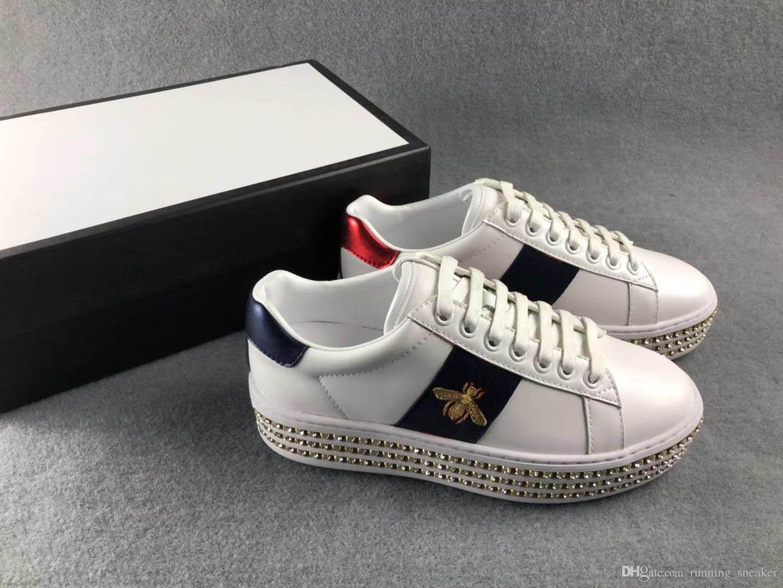 Nueva zapatilla de deporte de la moda con Ace cristales diseñador de las mujeres zapatillas de deporte casuales de lujo de cuero real de alta calidad zapatos femeninos con la abeja amaba a la venta