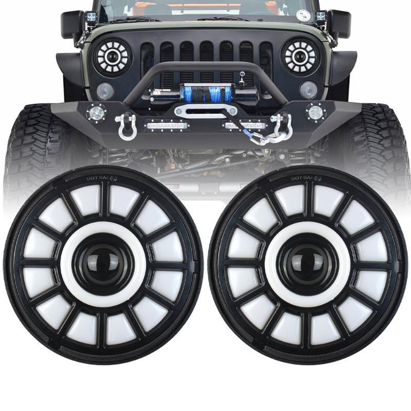 7inch Round Led Headlight High Low Beam Angle Eyes DRL Headlamp turn signal light For Wrangler Off Road 4x4 Motorcycle