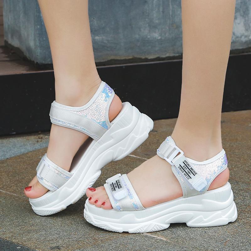 Fujin delle Fibbia estate delle donne del nero di disegno sandali platform bianche donne comode Thick Sole Beach Scarpe CX200715