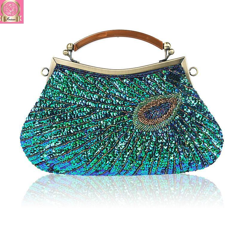 2018 Clutch Wedding Bags Party Clutch Women Evening Bags Handbag Beaded Sequined Purses Retro with Hand Strap