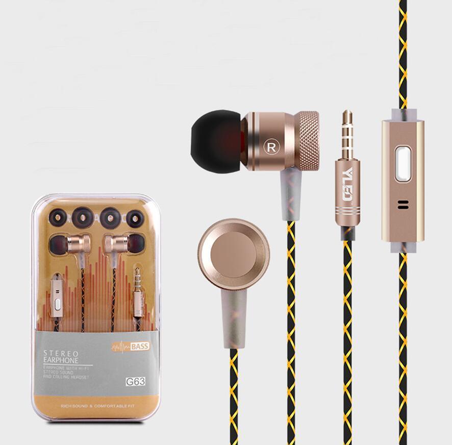 아이폰 X에 대한 샤오 미 Redmi 주 5 프로 피스톤 스포츠 이어폰에 귀 마이크 스테레오베이스 이어폰에서 G63 금속베이스 이어폰