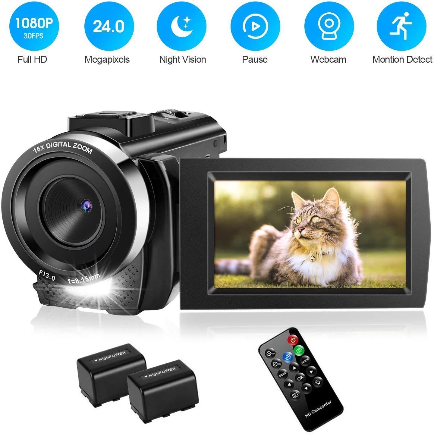 Video-Camcorder mit 32 GB-Karte Full HD 1080P 30FPS Digitale Vlogging Kamera für YouTube 3,0 Zoll LCD 270 Grad-IPS