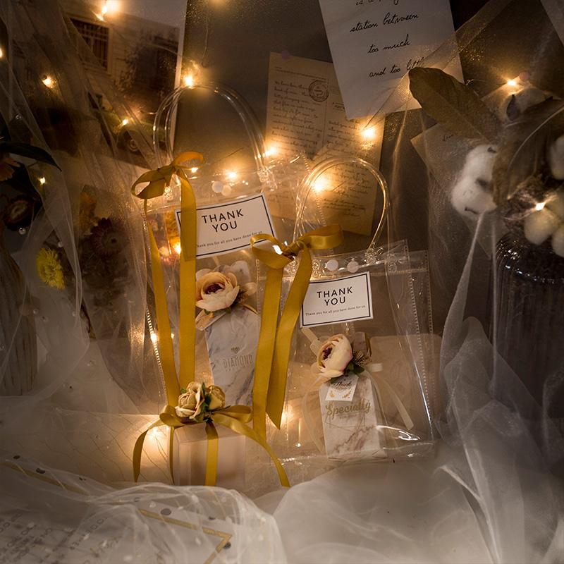 Golden Luxury Пвх Очистить подарочные пакеты прозрачные мешки Tote венчания коробки конфет Упаковка для подарков с ручками благосклонности Содержать