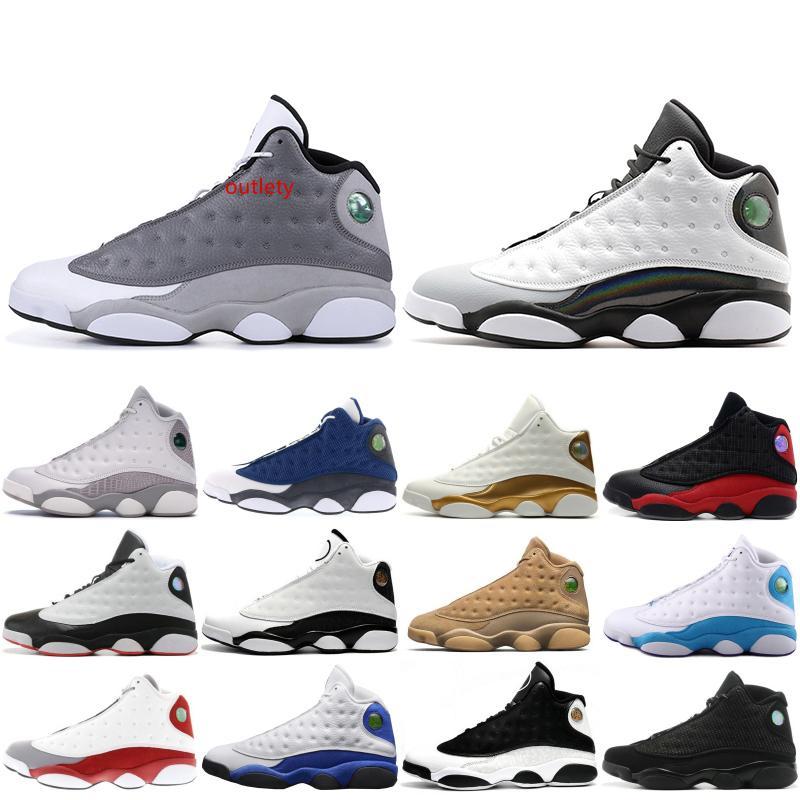 13 13s para hombre de los zapatos de baloncesto Ambiente gris trigo Bred DMP Chutney Negro Gato Formadores XIII diseñador de alta Deportes Snerkers 7-13