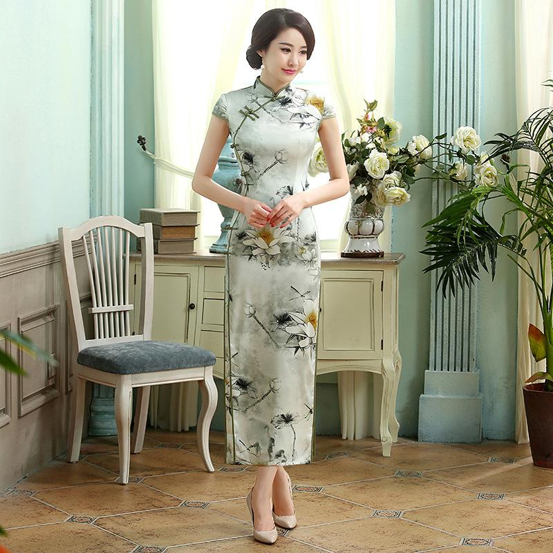 New Everyday Retro Silk Dress With Short Sleeves And Slim Long Double Layer Cheongsam Chinese Women Dress Cheongsam Sexy Qipao