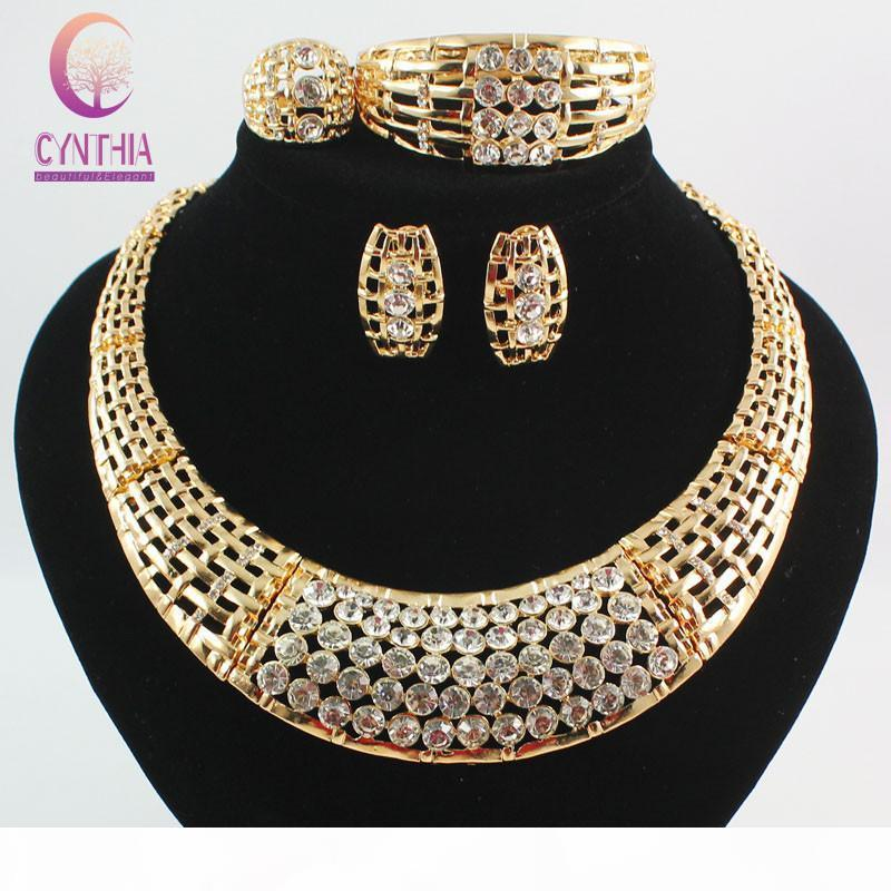 Fashion African Costume Jewelry Sets 18k Gold Plated Crystal Chunky Necklace Bangle Earrings Ring Women Bridal Party Gift Set