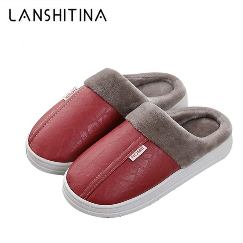 Women Sewing Home Slippers Waterproof Warm Fur Shoes Women Winter Plush Slippers Non Slip Indoor For Slipper Leather House Shoes Y200706
