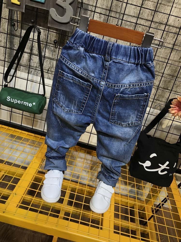 Beisi roupa do bebê 2019 estação nova boyswashed corte tridimensional Jeans Jeans calças calças pantychildren infantis 038B