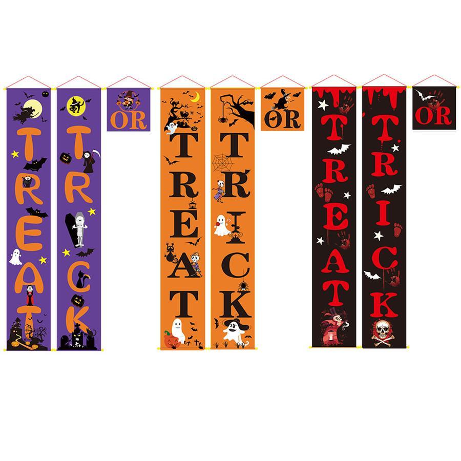 Trick or Treat Entrar Halloween Porch Bandeira para a porta da frente ou interior Home Decor Placas de Boas Vindas Dístico Halloween Detalhes no JK1909