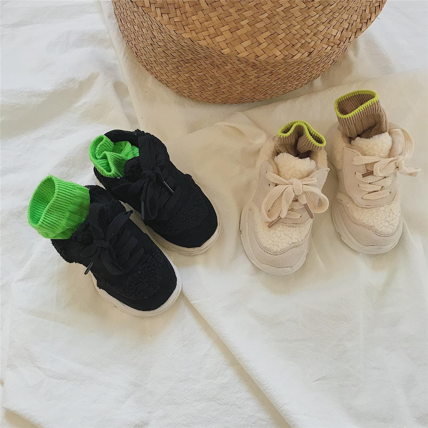 Korean Warm children's autumn and winter New lamb wool children's warm soft bottom wool shoes comfortable girlscasual shoes fashion