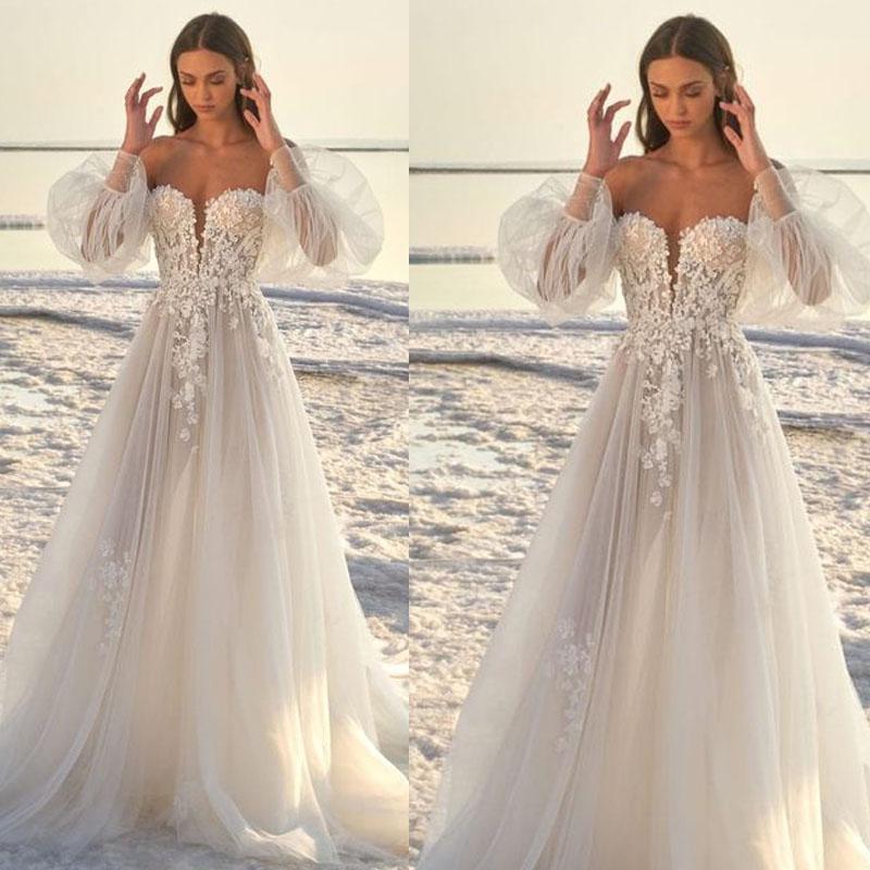 فساتين زفاف حمالة كم طويل الرباط البلد بوهو أثواب الزفاف زائد الحجم فساتين زفاف أثواب الزفاف رداء دي Mariee