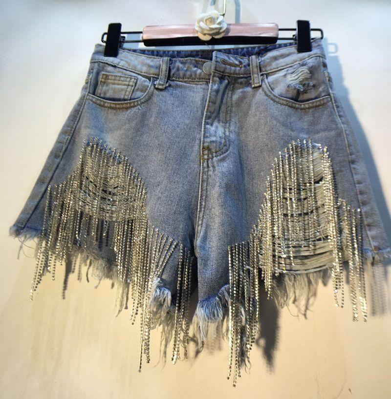 Compre 2020 Nueva Moda Para Mujer De Diseno Pantalones Cortos De Mezclilla Para El Verano De Las Mujeres Ocasionales De Los Pantalones De La Borla Del Rhinestone De Cadena Atractivo Ancha Tamano
