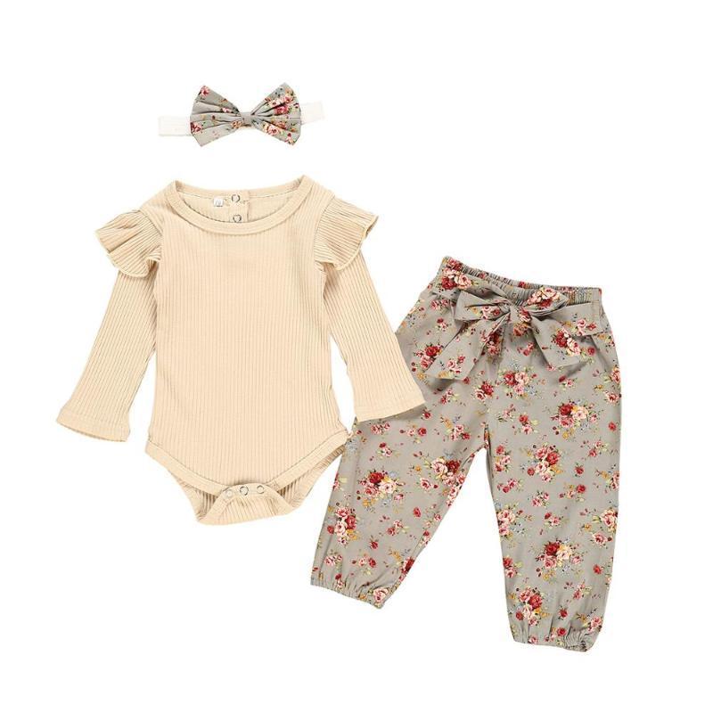 Новорожденных Baby Girl одежда Set Сплошной цвет с длинным рукавом Romper + цветочный принт брюки + лук оголовье 3шт Младенческая Одежда Outfit