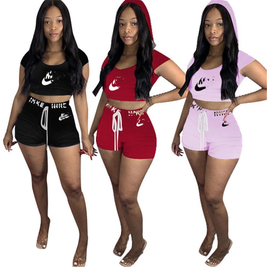 Kadınlar Yaz kapüşonlu Mahsul Tops Şort iki Adet Set marka eşofman Casual Rahat Kısa SleeveTee gömlek + Şort Takım Elbise 3506
