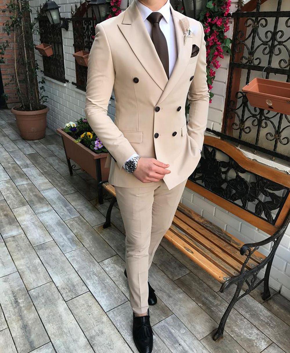 Beige Formel Hommes Costumes pour Mariage Tuxedos Slim Fit Fit Double Blazer à Breasred 2 pièce Custom Custom Wood Homme sur mesure Vêtements (veste + pantalon)