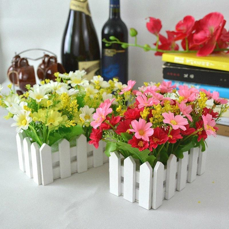 Wedding fiore artificiale Decor Falso Margherita in bianco Steccato Pot pacchetto Louis Simulazione fiori artificiali Garden Piccola Pianta PbJj #