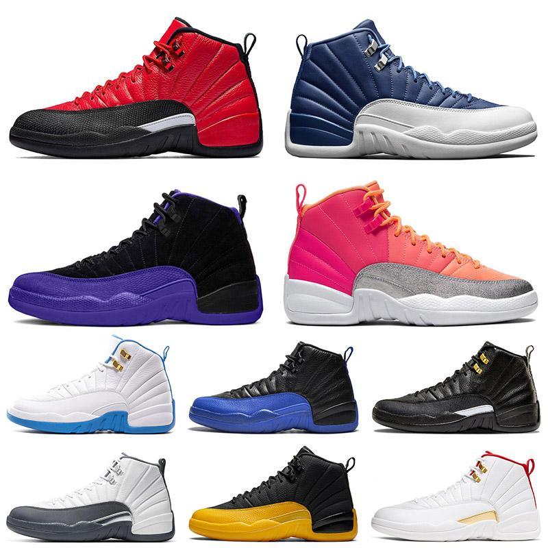 nike air jordan retro 12 12s XII Herren Basketballschuhe 12s New JUMPMAN 23 DARK CONCOR Steinblau Reverse Grippe Spiel Hot Punch Trainer Sport Sneakers Größe 13