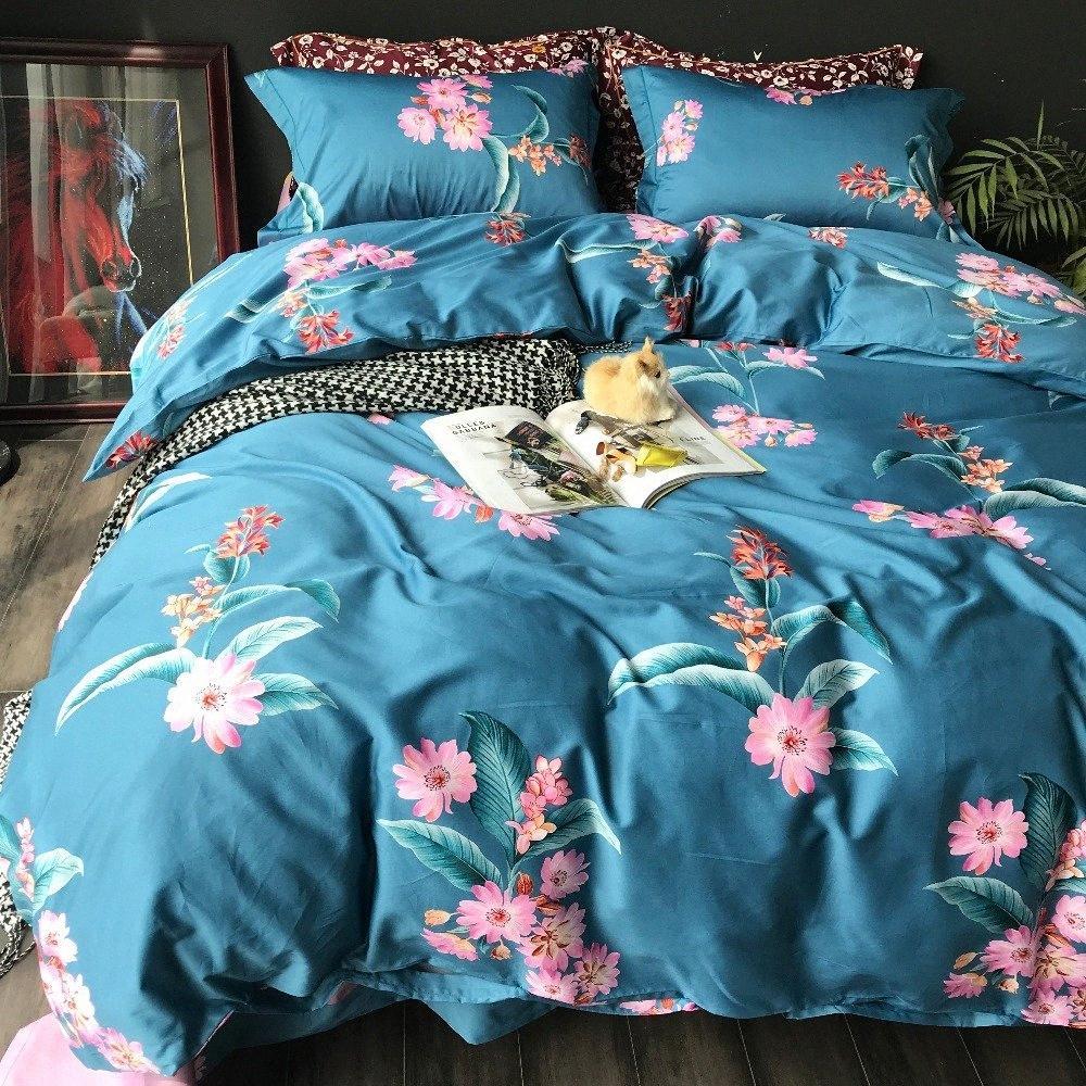 100% coton 60S Egypte Bule Literie Floral Set Roi Queen Size Peacock Motif Linge de lit Housse de couette drap de lit Taies D3Xf #
