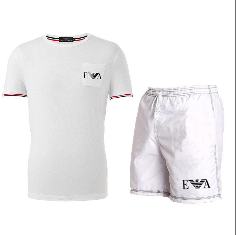 Survêtement Homme 2020 Vêtements pour hommes Vêtements de sport Fitness Set d'été Imprimer Hommes Shorts + T-shirt Costumes 2 pièces Ensembles blanc noir