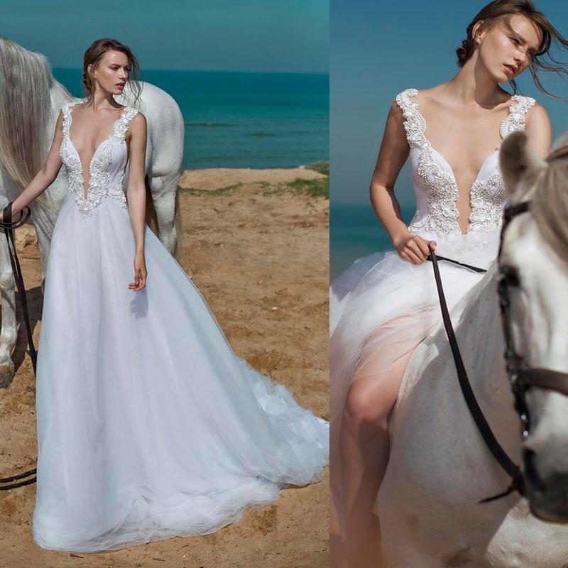 Wedding Dresses Beading Pearls Crystal A Line Bridal Gowns Plus Size 2 4 6 8 10 12 14 16 18 20 22 24