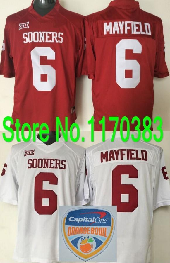 Fabbrica Outlet- Capital One Bowl Patch # 6 Baker Mayfield del calcio Jersey Oklahoma Sooners Jersey College Football Jersey Colore Rosso Wh