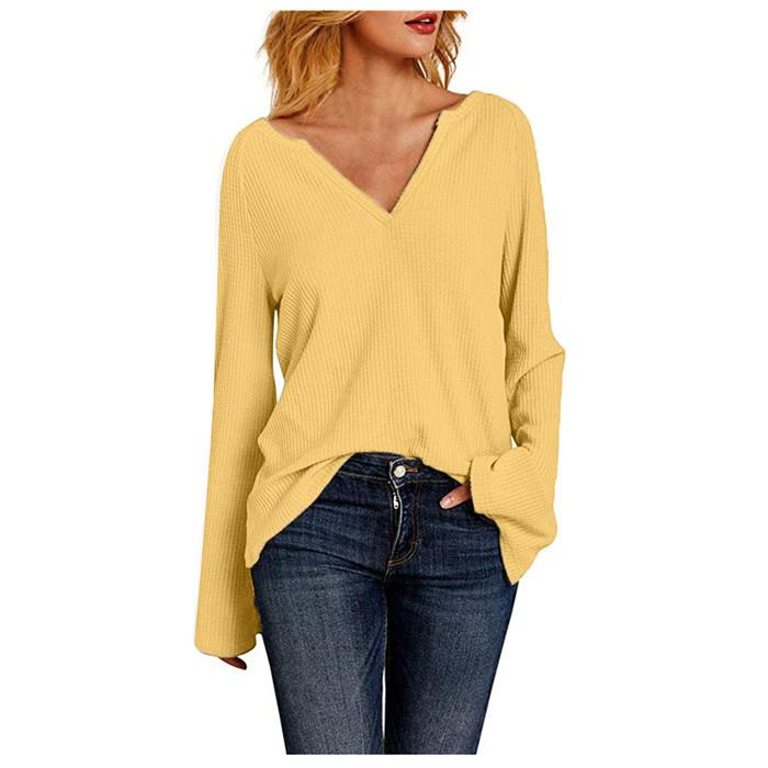 Femmes col en V manches Flare T-shirts Automne Hiver Waffle Plaid Solide Couleur T-shirts Droite Loose Women Casual Tops