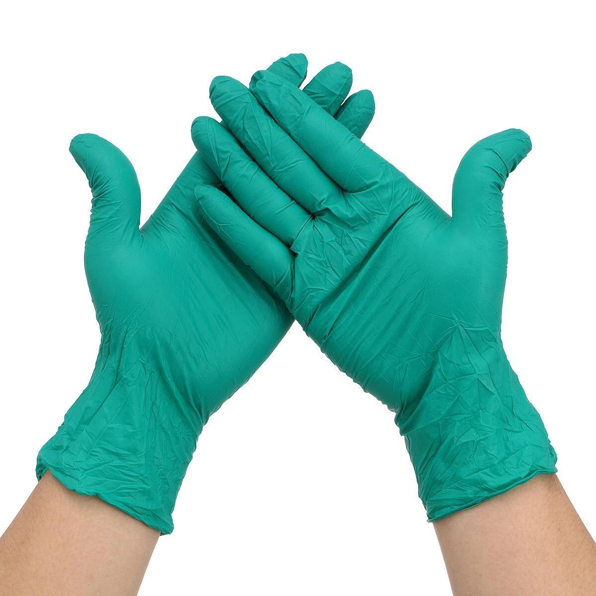 100pcs التي S / M / L المتاح النتريل قفازات حماية اليد الصحة الشخصية التنظيف معالجة قفازات واقية قفاز العمل الخضراء