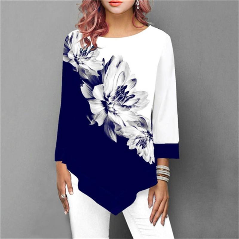 Women's Blouses & Shirts 2021 Shirt Women Spring Summer Floral Printing Blouse 3/4 Sleeve Casual Hem Irregularity Female Fashion Tops Plus S