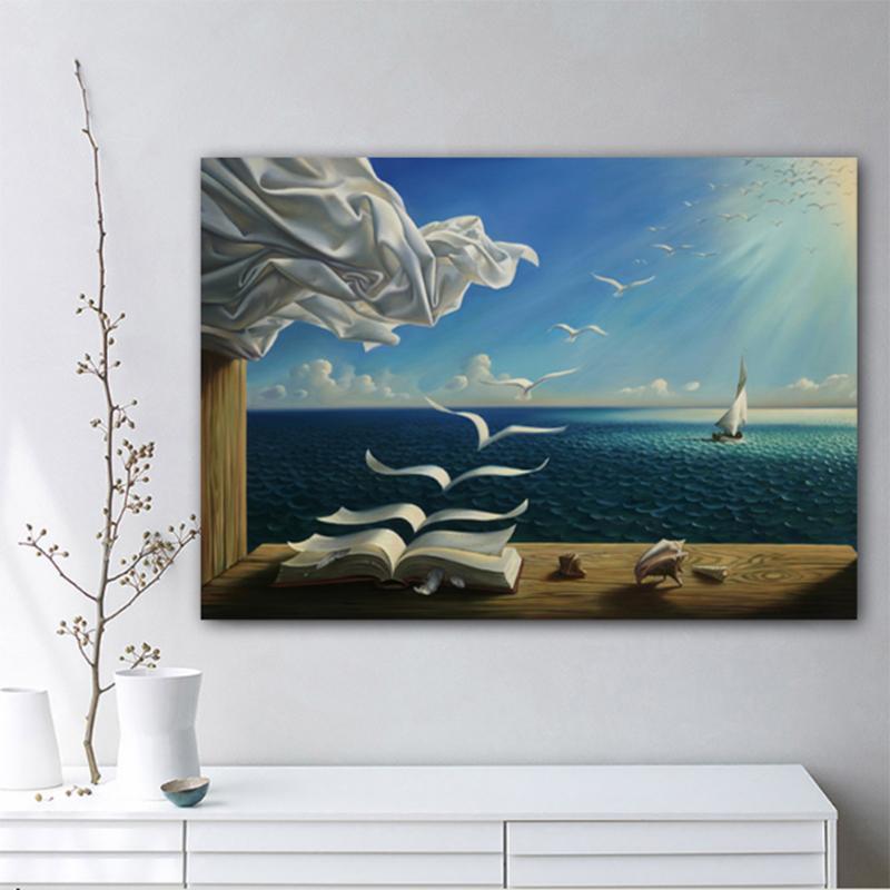 The Waves Libro della barca a vela di Salvador Dali su tela pittura di paesaggio Poster Art parete per Soggiorno Home Decor (No Frame)