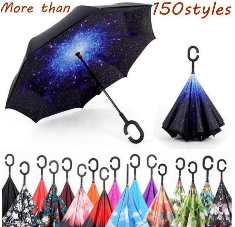 C poignée Parapluies double couche arrière parapluie extérieur Inside Out stand parapluie coupe-vent semi-automatique de voiture pliant Parapluies LSK218