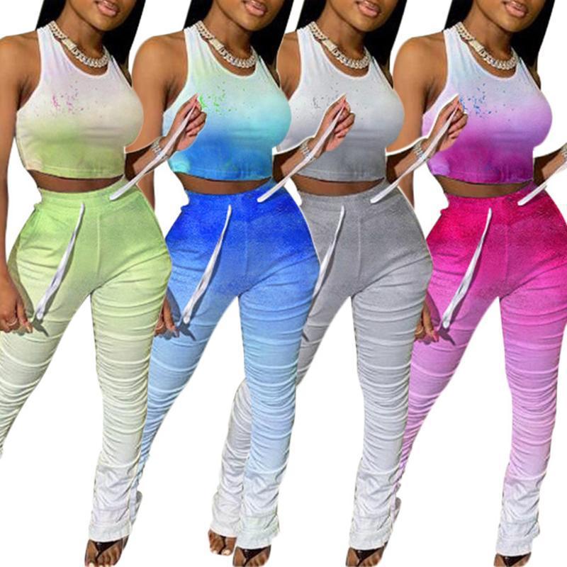 2020 mujeres de degradado Establece chándal pantalones sin mangas bodycon sin mangas con pliegues Deportes Equipos