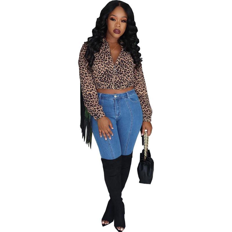 Donna Cappotti leopardo progettista del modello della nappa con pannelli Coats Casual Zipper collo Crop Top Coat vestiti delle donne