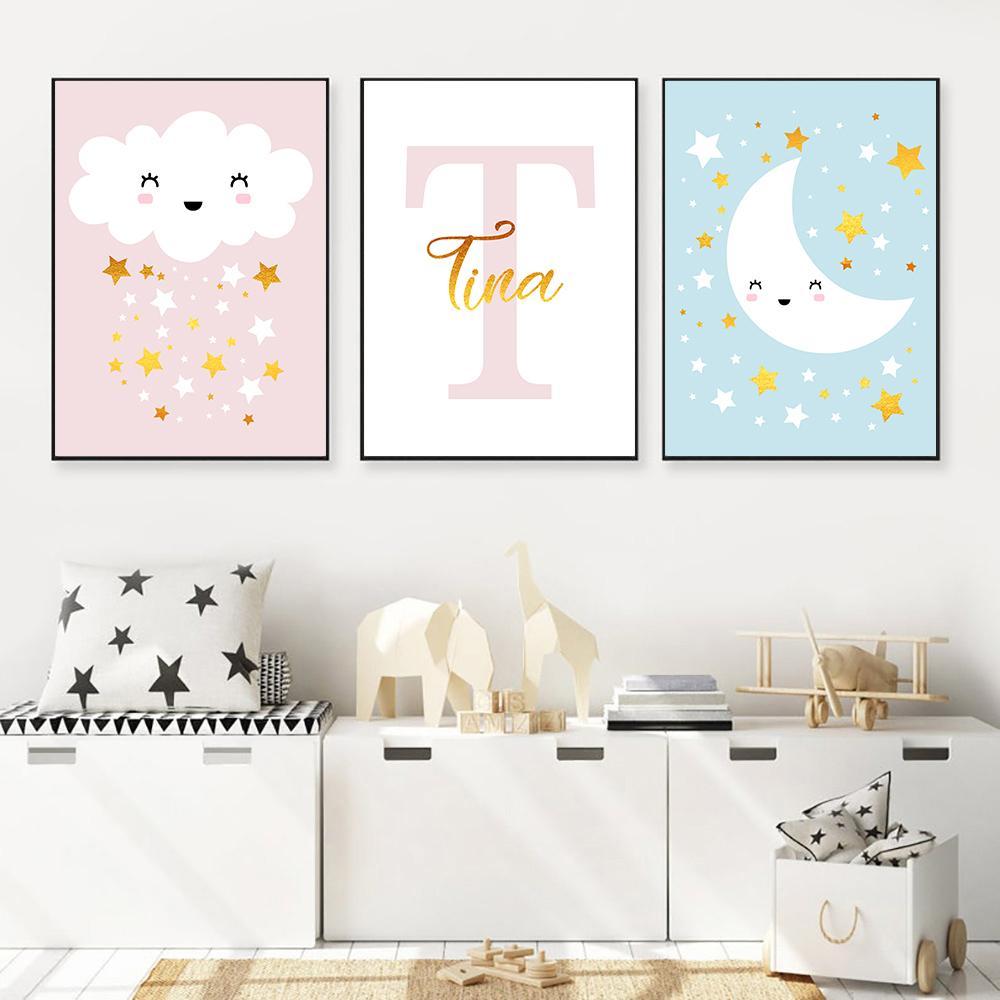 Impressão Nordic Poster Nursery Canvas Lua, Nuvem Pinturas Nome personalizado Art Prints dos desenhos animados Estrela Pictures quarto Cute Baby Wall Decor