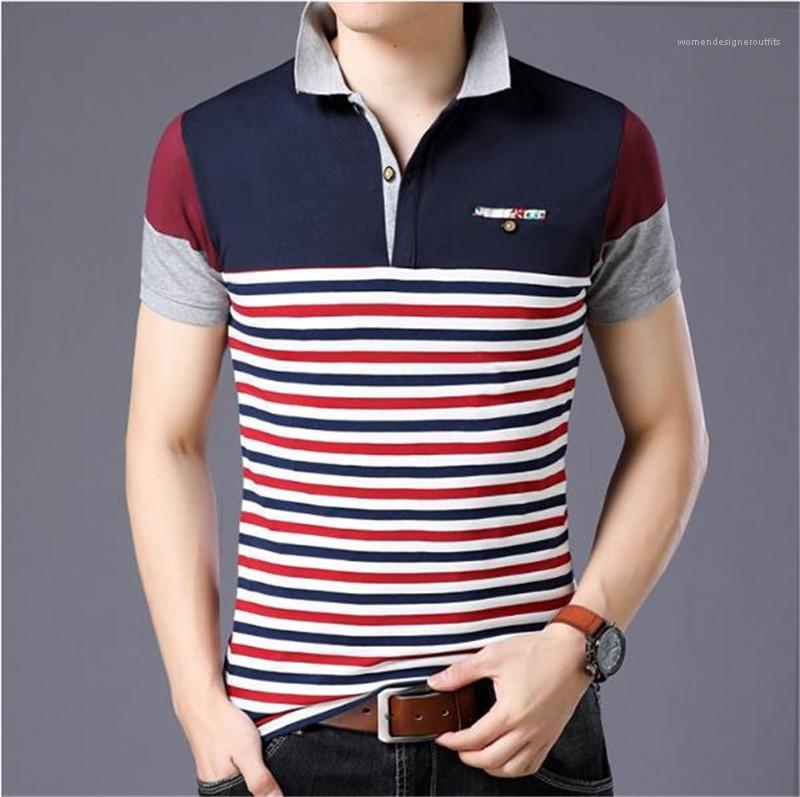 Kısa Kollu İnce Casual İş Tees Erkek Tasarımcı Lüks Polo Gömlek 5XL Çizgili Patchwork Yaz Erkek Polos Yaka Boyun