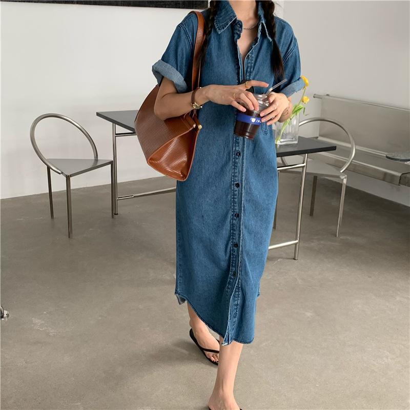 New 2020 Lässige Vintage-Einreiher Turn-down Collar Pockets loses langes Kleid Frauen-Denim-Kleid-Sommer