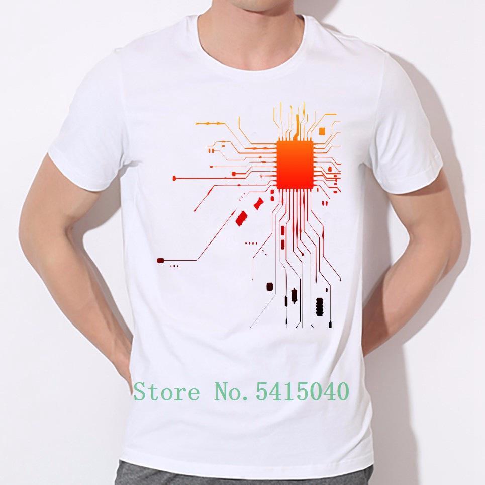 Coeur est le corps du collier Circuit Board intégré rond T-shirt Personnalité Hommes Impression T-shirt Vente directe d'usine