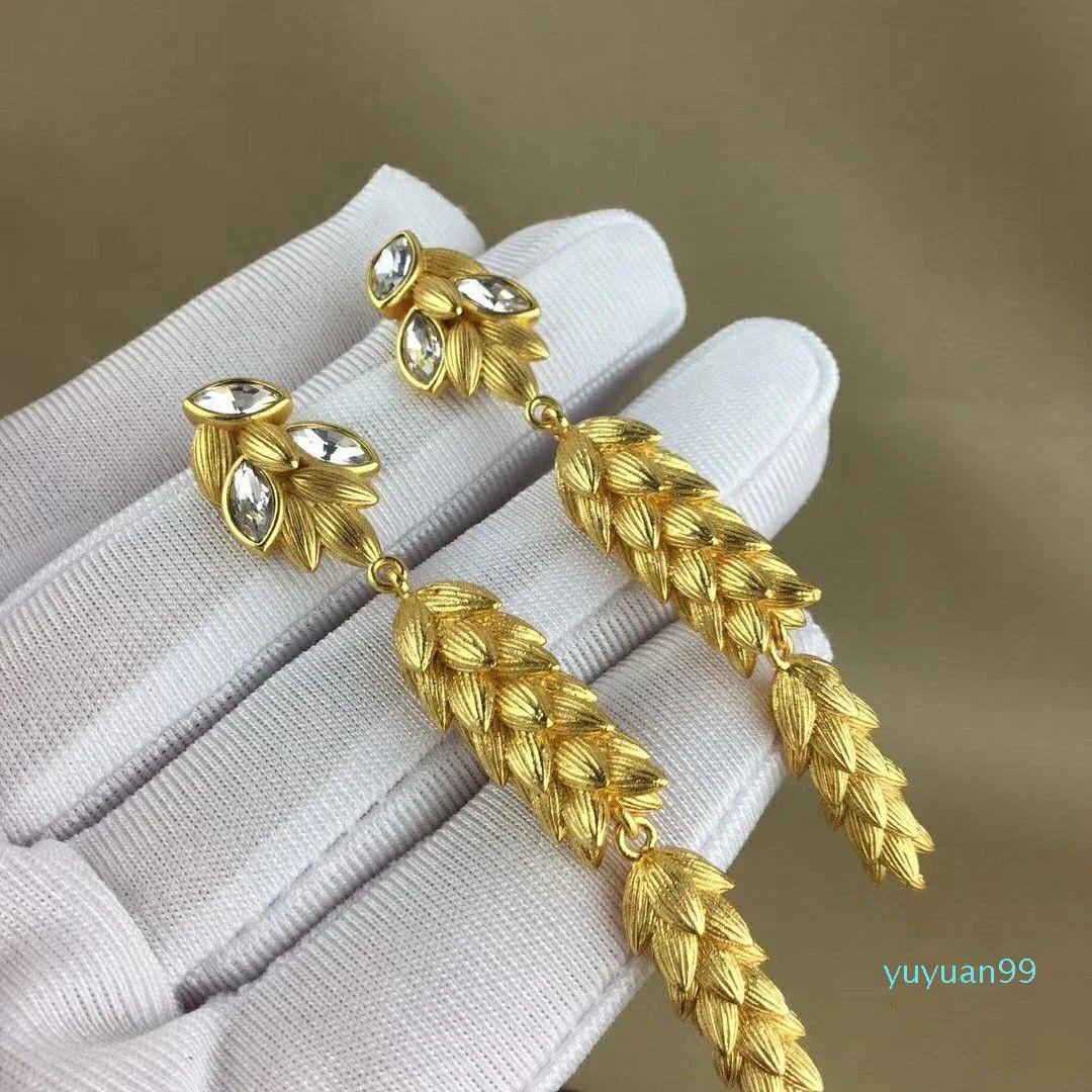 lusso- Lettera modo di marca i più nuovi classico di cristallo dell'oro dell'annata grano orecchini di goccia per le donne Ragazza punk, regalo