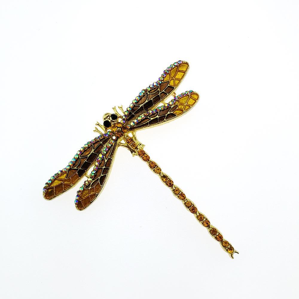 الذيل بالجملة شحن مجاني الذهب سبائك الزنك الأبيض AB حجر الراين طويل اليعسوب بروش بروش الحشرات لتزيين الملابس
