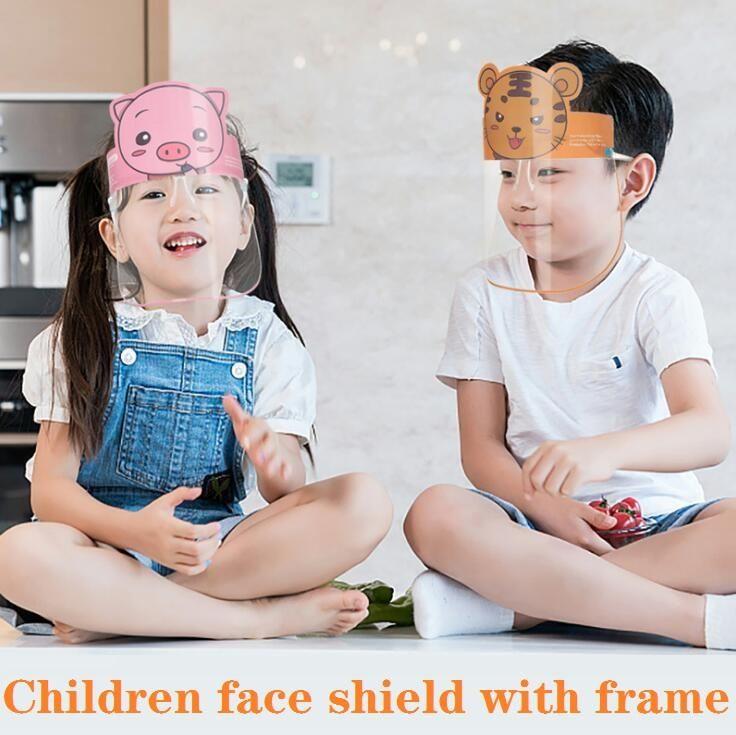 PET-Kind-Karikatur-Gesichts-Schild mit Brille Sicherheit Chidren Schutz Maske Vollgesichts Anti-Fog Isolation Maske Spritzwassergeschütztes Visier FY8094