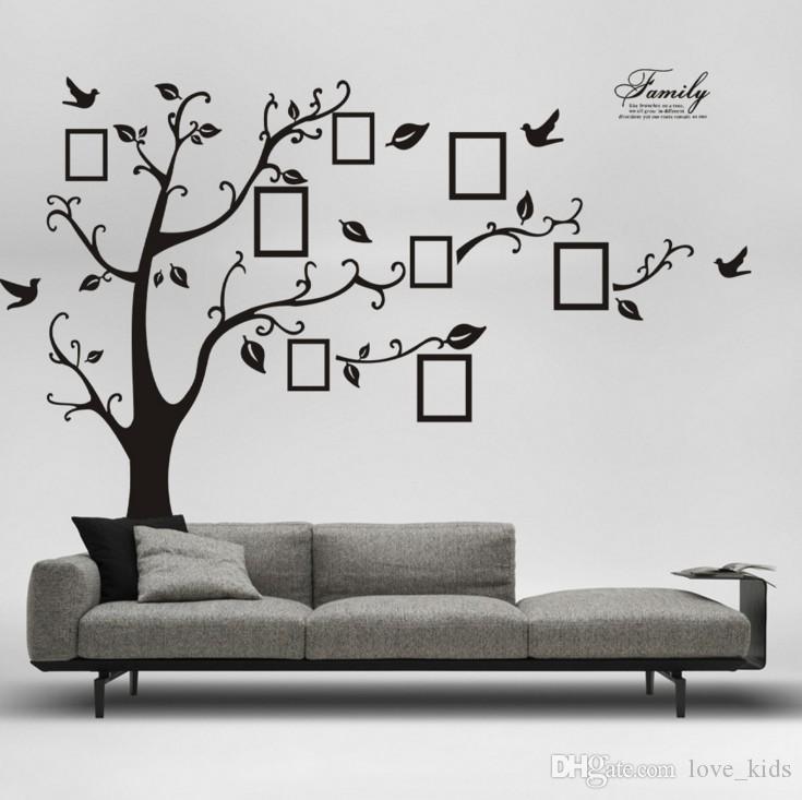 شحن مجاني: كبير 200 * 250CM / 90 * 120in الأسود 3D DIY صور شجرة PVC شارات الجدار / لاصق الأسرة ملصقات الحائط جدارية الفن ديكور المنزل