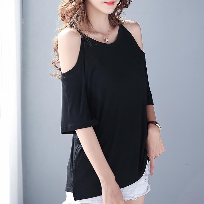 Verano de las mujeres de Harajuku algodón modal camiseta de color sólido informal tes de las tapas del hombro del cuello de O manga corta fría Negro Camiseta blanca