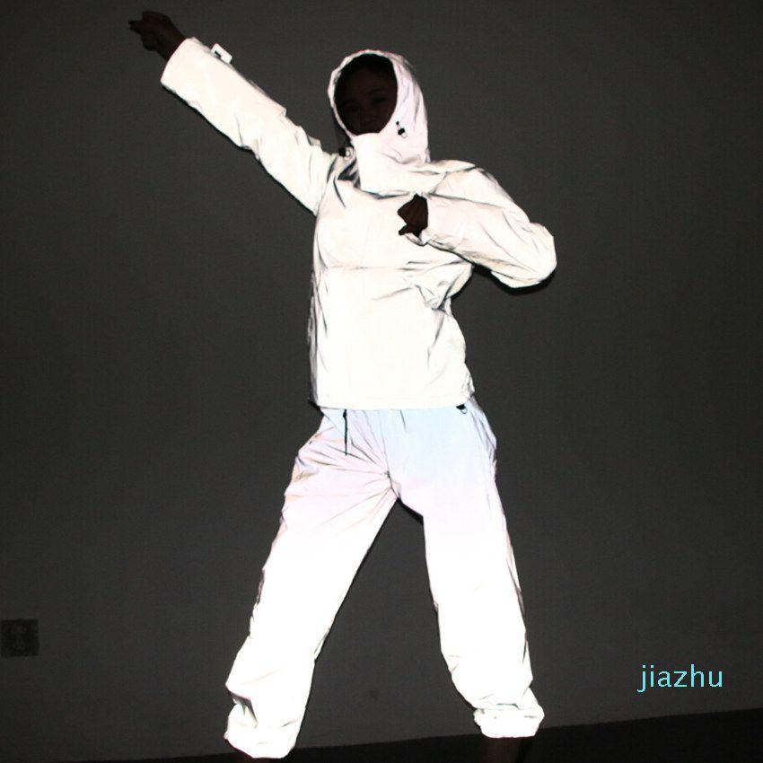 Hot Sale Free Drop shipper Joggers men's reflective pants men hip hop women dance dancing night light shiny blink long pants