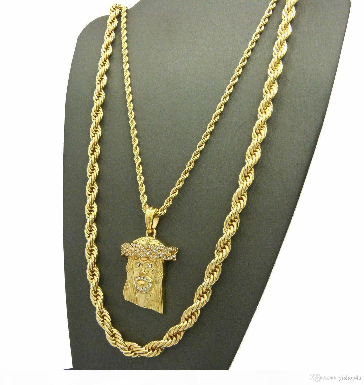 G Hip Hip fuori ghiacciato Gesù Viso Ciondolo W 24 Quot;, 10mm 30 corda collana della catena Set 2 Pz Set collana Rapper Accessori