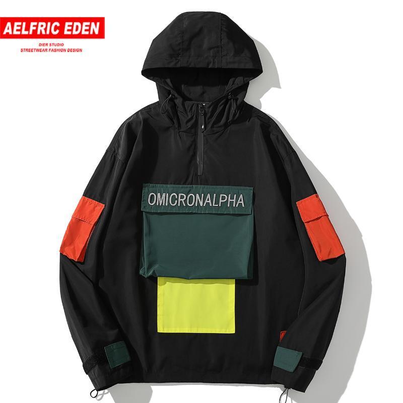 Эльфрик Eden Color Block Лоскутная Карманы Ветровка Vintage 2020 Уличная Тренировочные куртки Hip Hop Harajuku Повседневный капюшоном пальто