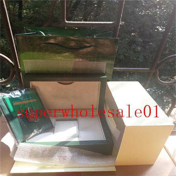 Todas las series verde superior del original correcto de lujo Documentos Bolsa regalo para las cajas de folletos Rolex Relojes por encargo libre Imprimir Modelo Tarjeta de Número de Serie 733