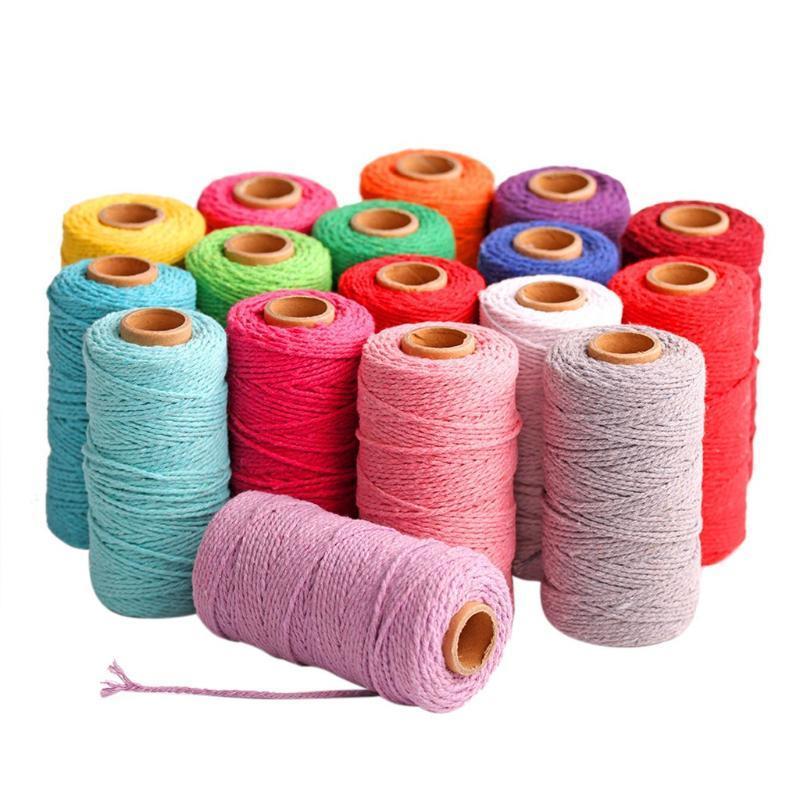 100 metros de largo / 100yard puro algodón trenzado del cordón cuerda Oficios Artesanos Macrame Hilo de suministro de bricolaje álbum de recortes hecho a mano