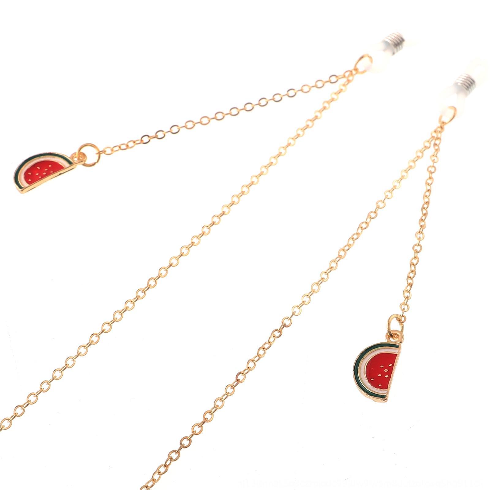 Anti-dérapant corde en métal doré Pendentif populaire soleil lunettes pendentif pastèque fruit Lunettes de soleil Chaine