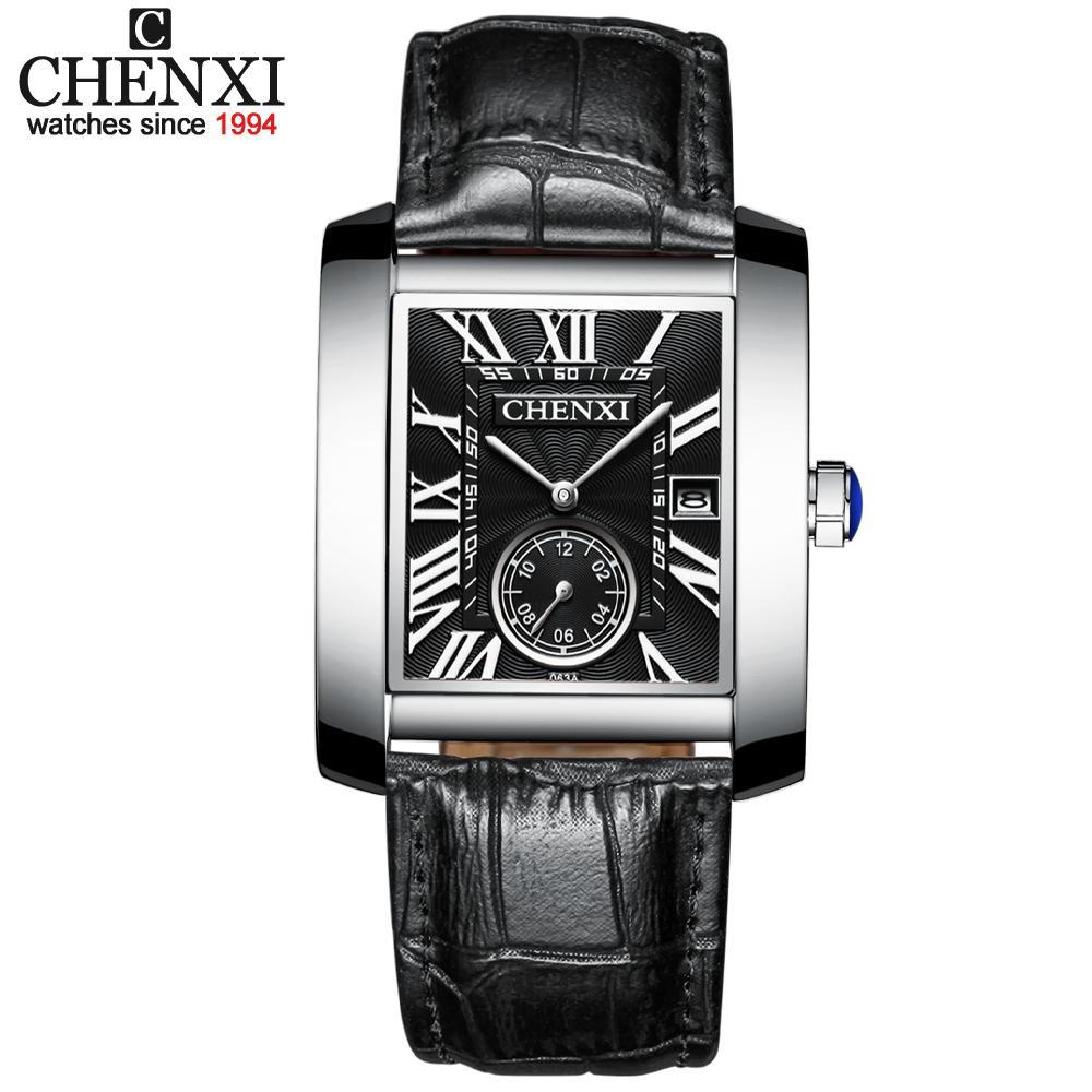 CHENXI Новая площадь моды циферблатом Мужские часы Analog Кварцевые часы мужские кожаные водонепроницаемый противоударный Дата Хронограф