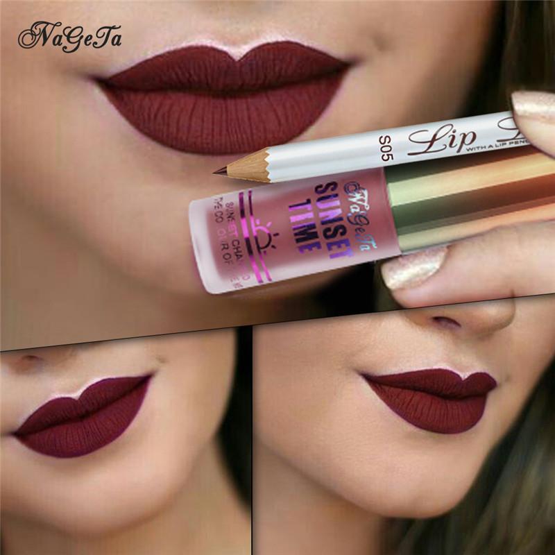 Матовый Бархат Liquid Lipstick Lipliner Set Waterproof Rich Color Long Lasting Губы Макияж Легкий Блеск для губ 6sets